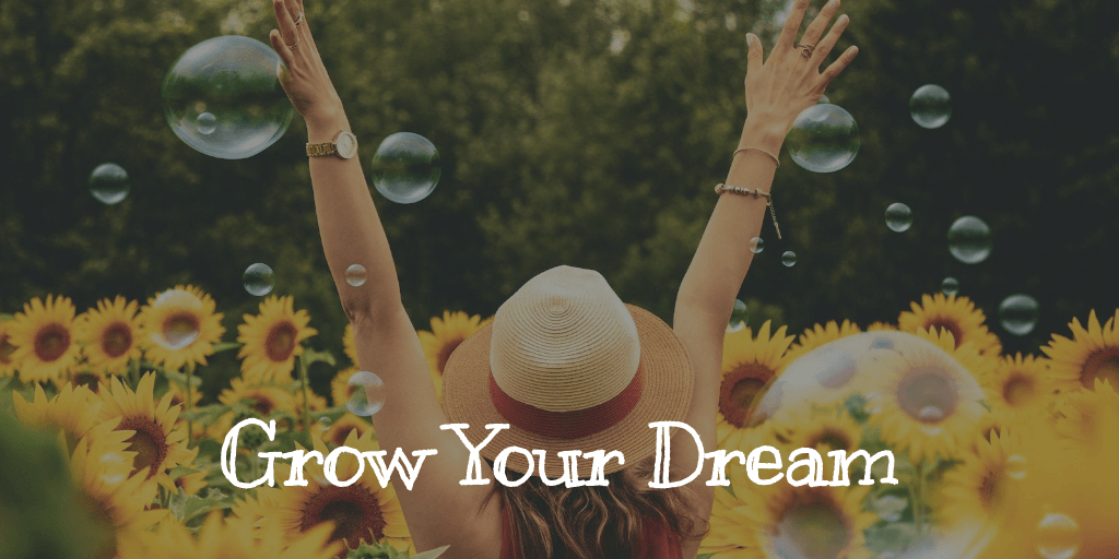 grow your dream woman in sunflower field with bubbles